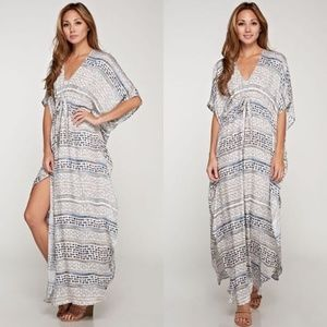 Love Stitch Bohemian Tie-Front Maxi Dress Charcoal